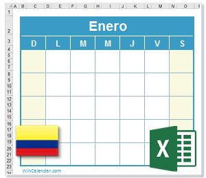 Calendario Excel 2015 con dias feriados Colombia