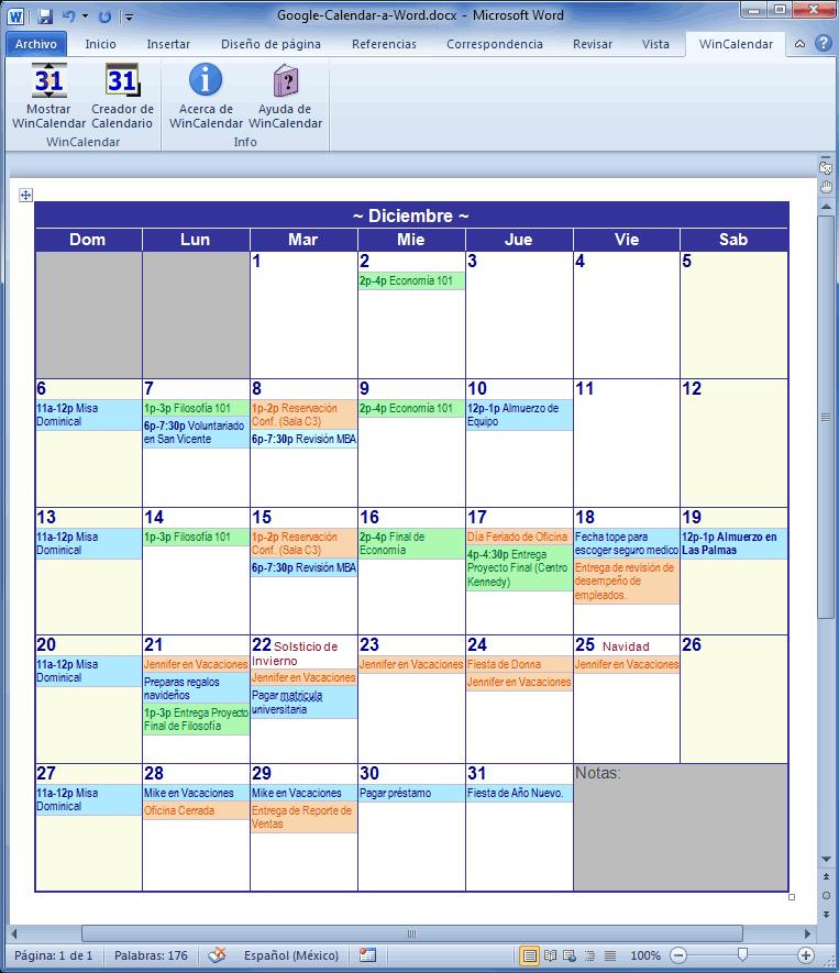 Importar Google Calendar para Excel e Word – Agenda Word