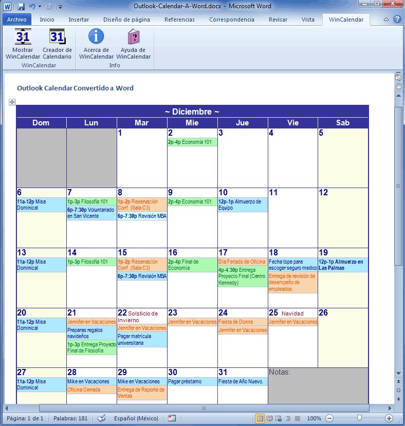 microsoft word 2018 calendar