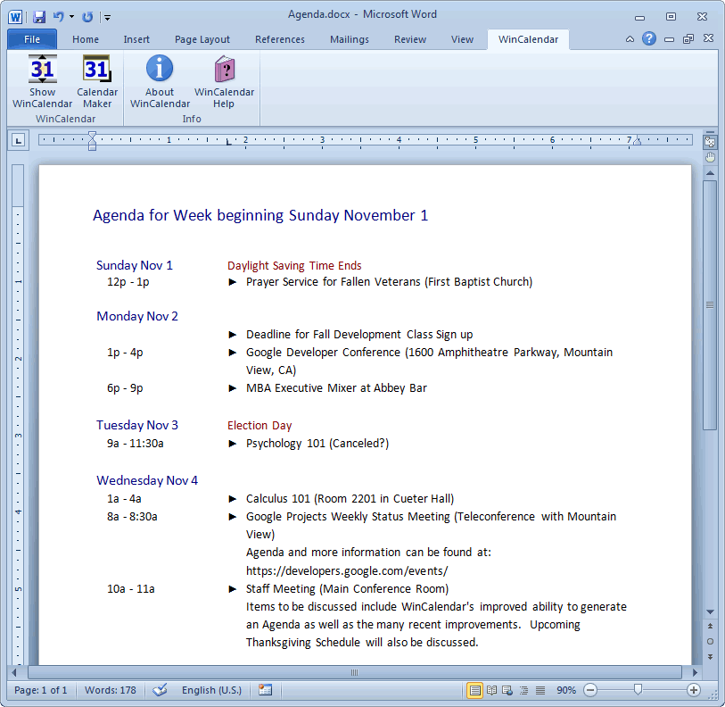 Convert Google Calendar to Excel and Word format – Agenda Samples in Word