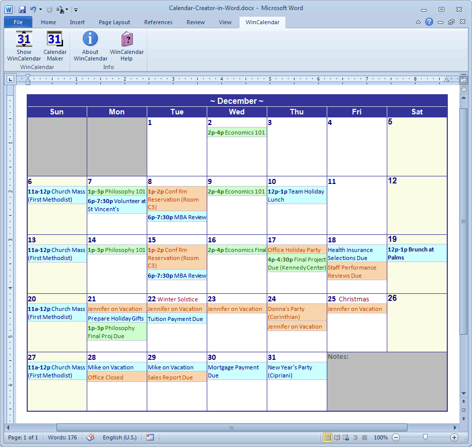 Calendar Design Software : Calendar maker creator for word and excel