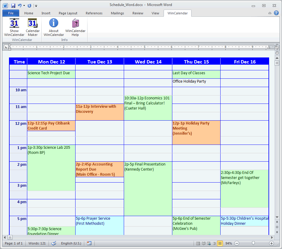 Sample School Schedule in Word with Google & Outlook Calendar data.