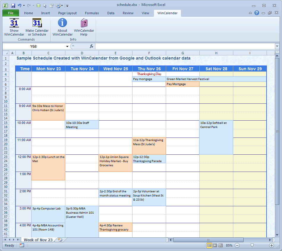 WinCalendar Excel Calendar Creator with Holidays – Sample Vacation Calendar