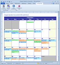 Google Calendar as Monthly Calendar in Word