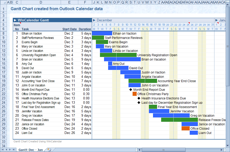 ... Calendar appointment data into Excel and Word using WinCalendar
