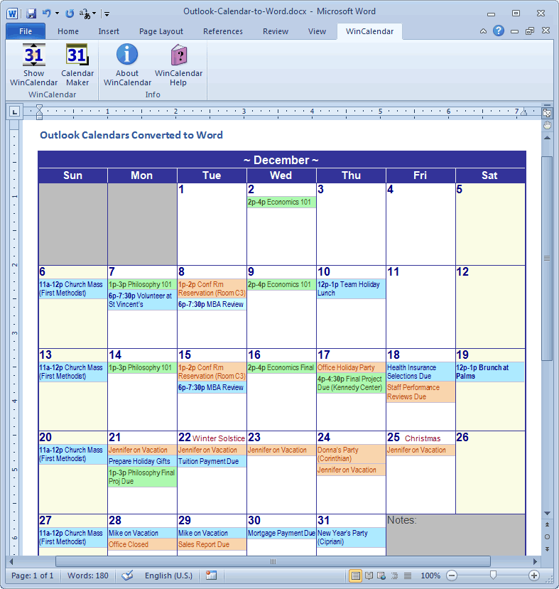 Outlook Calendar to Microsoft Word