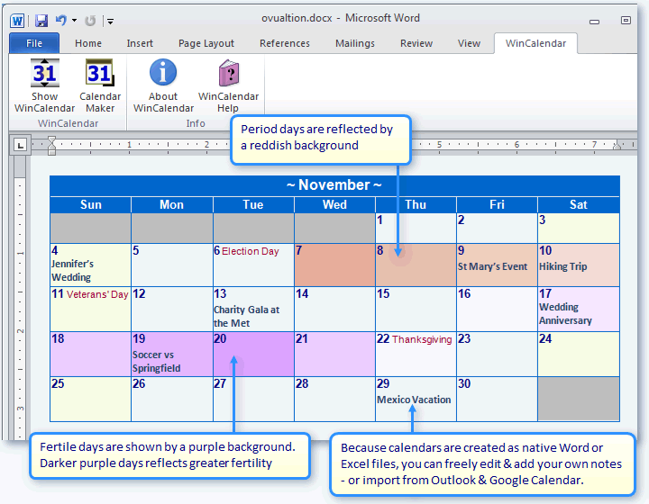 With WinCalendar you can create a fully editable Fertility Ovulation ...