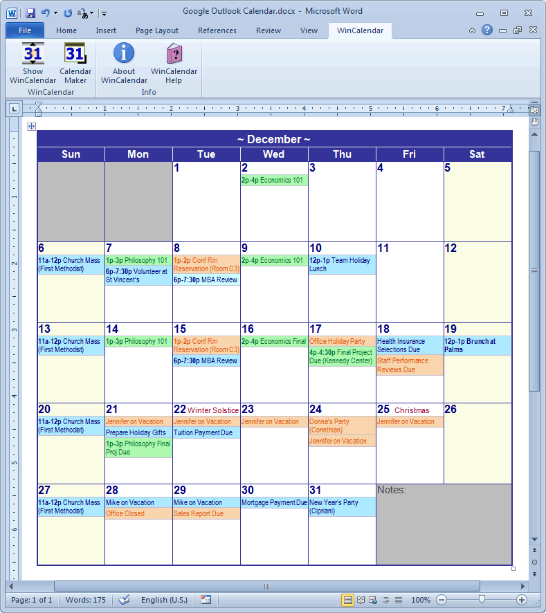 Calendar Creator for Microsoft Word with Holidays – Sample Vacation Calendar