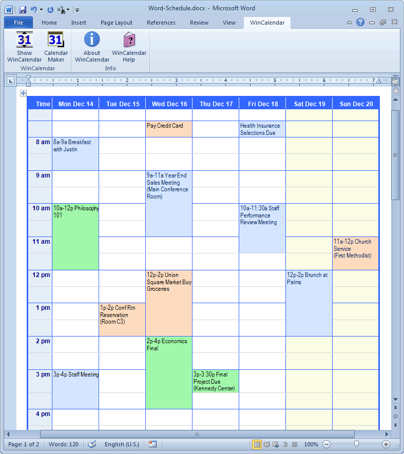 Calendar Creator for Microsoft Word with Holidays – Word Calendar Sample