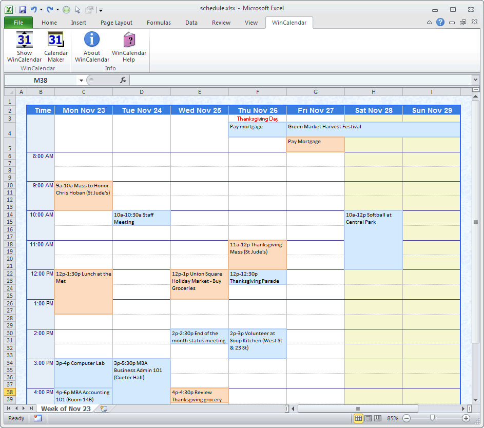 create weekly schedule excel