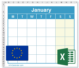 Calendar Excel European Union