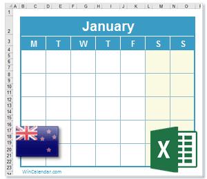 Calendar Excel New Zealand