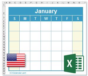 Calendar Excel United States