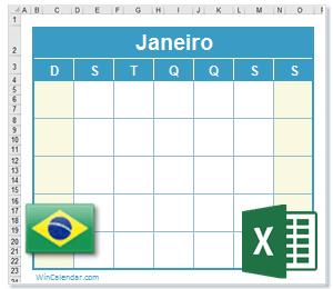 Calendário Excel Brasil