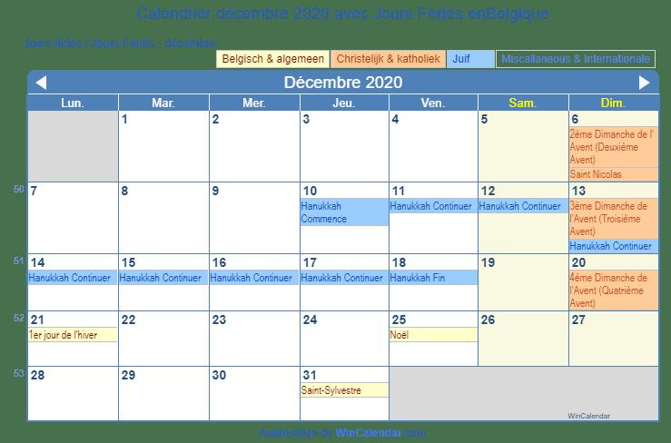 Calendrier De Decembre 2020.Belgique Calendrier Pour L Impression Decembre 2020
