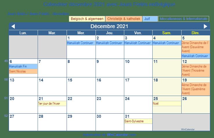Calendrier décembre 2021 à imprimer   Belgique