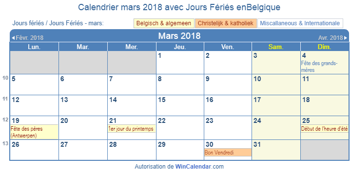 belgique calendrier pour l 39 impression mars 2018. Black Bedroom Furniture Sets. Home Design Ideas