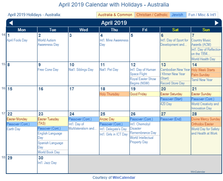 april 2019 calendar with australian holidays to print