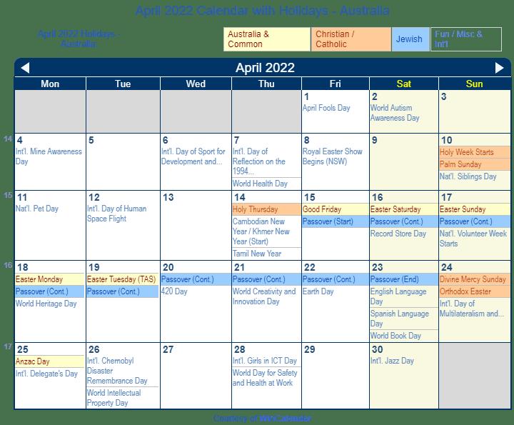Print Friendly April 2022 Australia Calendar For Printing