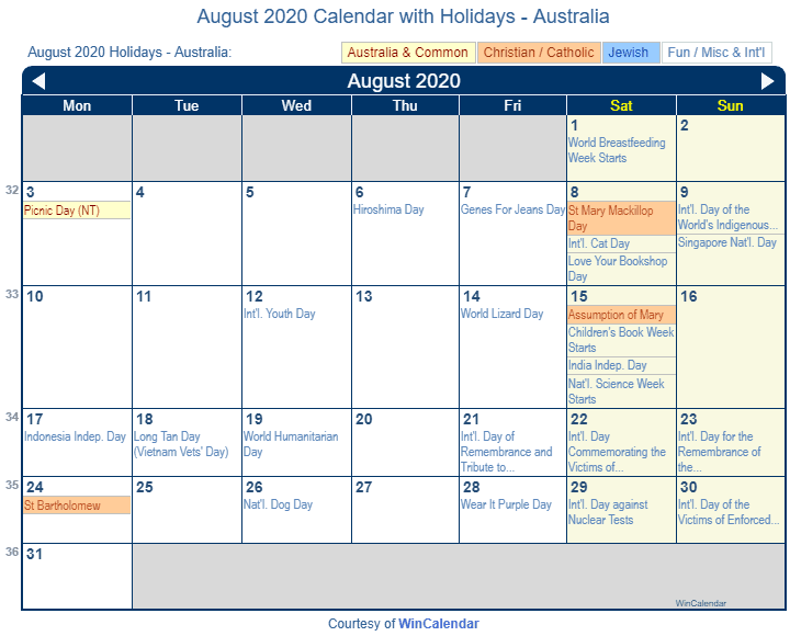 Calendar August 2020 Printable.Print Friendly August 2020 Australia Calendar For Printing