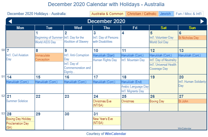 Religious Festival Calendar 2020 Print Friendly December 2020 Australia Calendar for printing