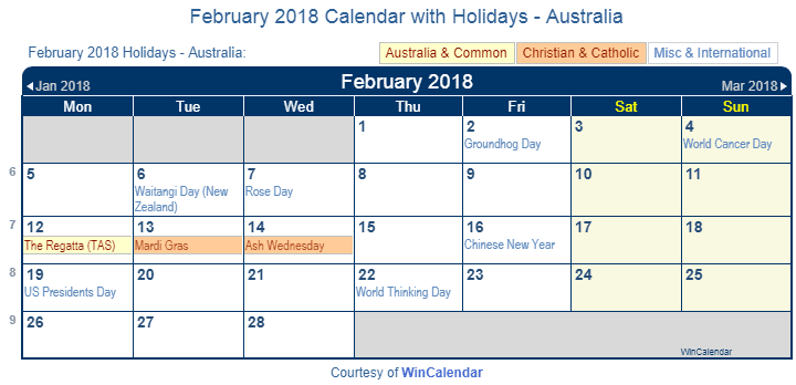 Print Friendly February 2018 Australia Calendar for printing