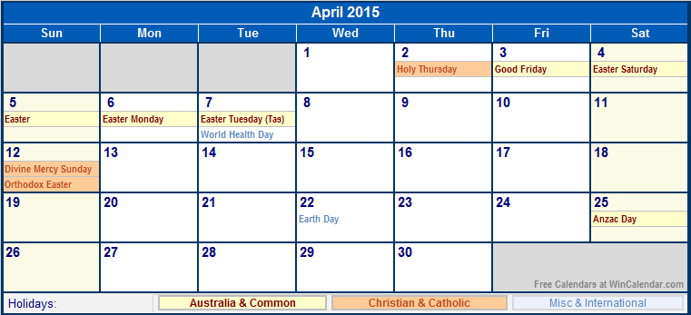 April 2015 australia calendar with holidays for printing for Australian calendar template 2015