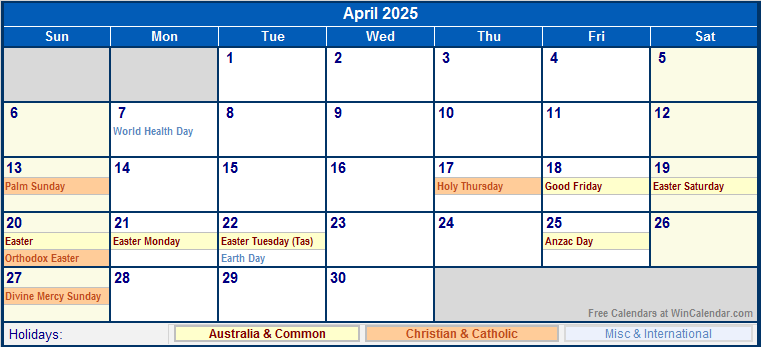 April 2025 Printable Calendar with Australia, Christian, & International Holidays