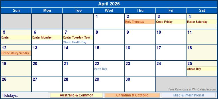 April 2026 Australia Calendar with Holidays for printing ...