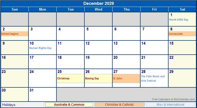 graphic relating to Dec Printable Calendar named December 2029 Australia Calendar with Holiday seasons for printing