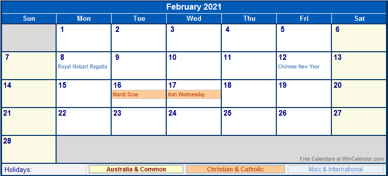 February 2021 Australia Calendar with Holidays for ...