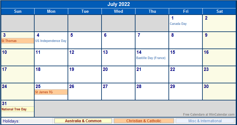 July 2022 Australia Calendar with Holidays for printing ...