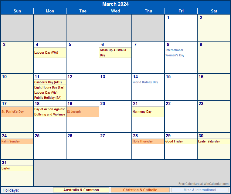 March 2024 Australia Calendar With Holidays For Printing Image Format