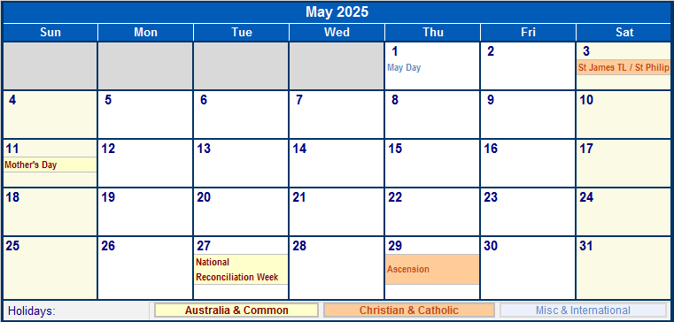 May 2025 Australia Calendar With Holidays For Printing