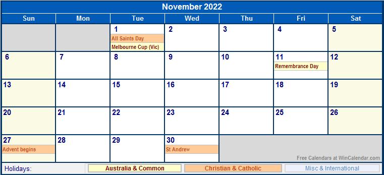 November 2022 Australia Calendar with Holidays for ...