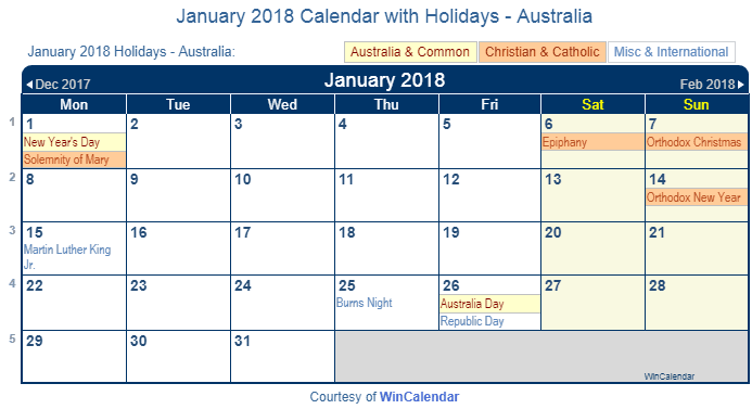 january 2018 calendar with australian holidays to print