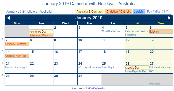 January Wincalendar 2019 Print Friendly January 2019 Australia Calendar for printing
