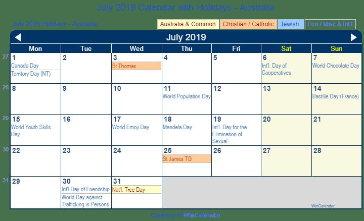 Print Friendly July 2019 Australia Calendar for printing
