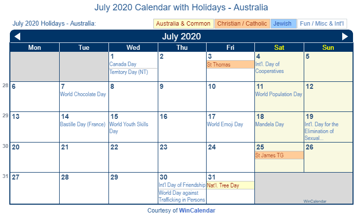 July 2020 Calendar with Australia Holidays (Including Christian and religious)