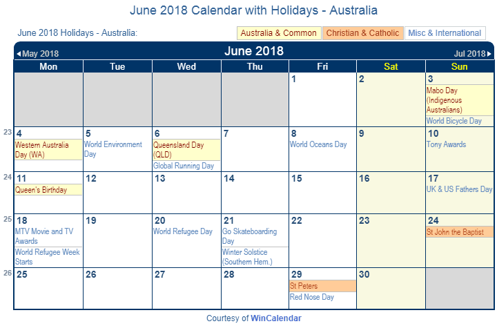 Print Friendly June 2018 Australia Calendar for printing