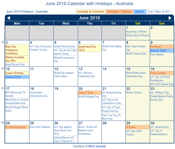 June 2019 Calendar with Australian Holidays to Print