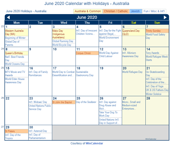 June 2020 Calendar with Australia Holidays (Including Christian and religious)