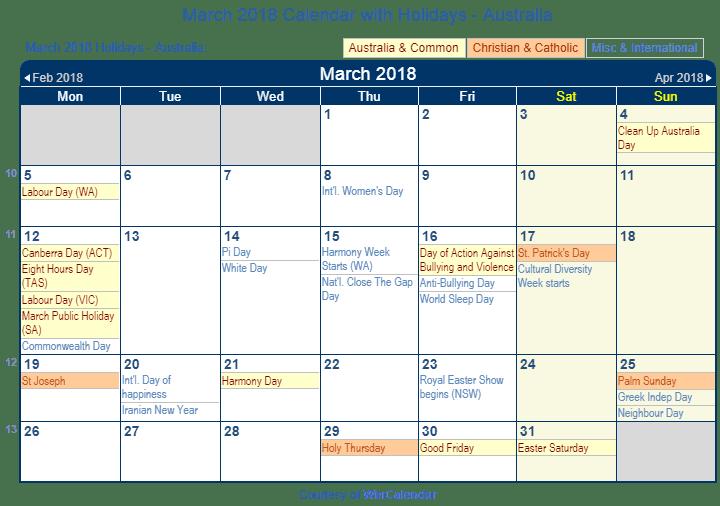 March 2018 Calendar Religious