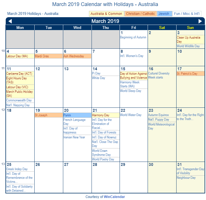 March 2019 Calendar with Australian Holidays to Print