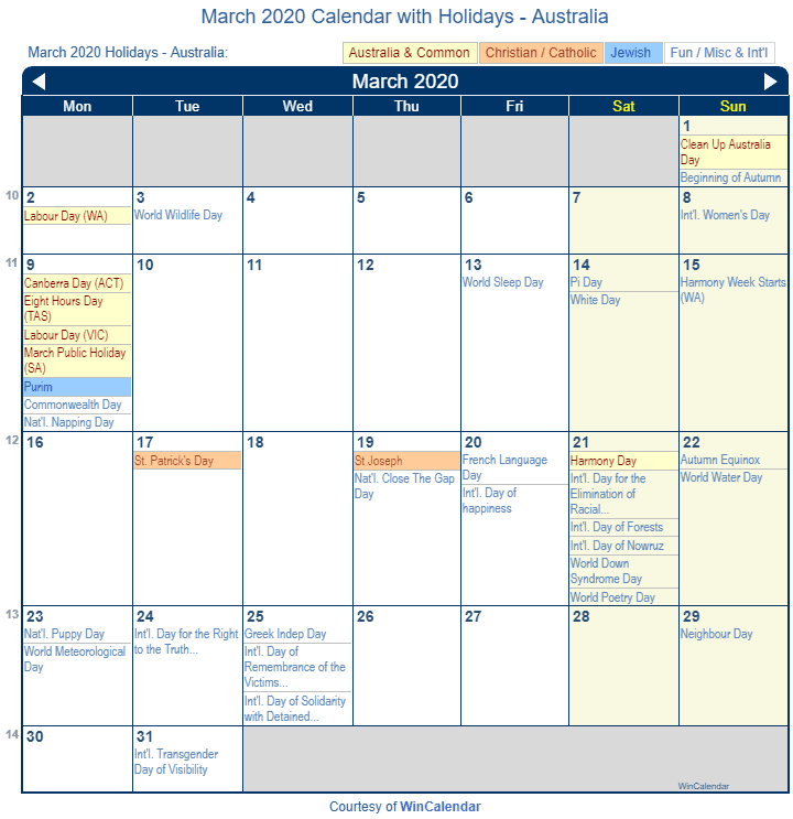 March 2020 Calendar With Holidays Print Friendly March 2020 Australia Calendar for printing