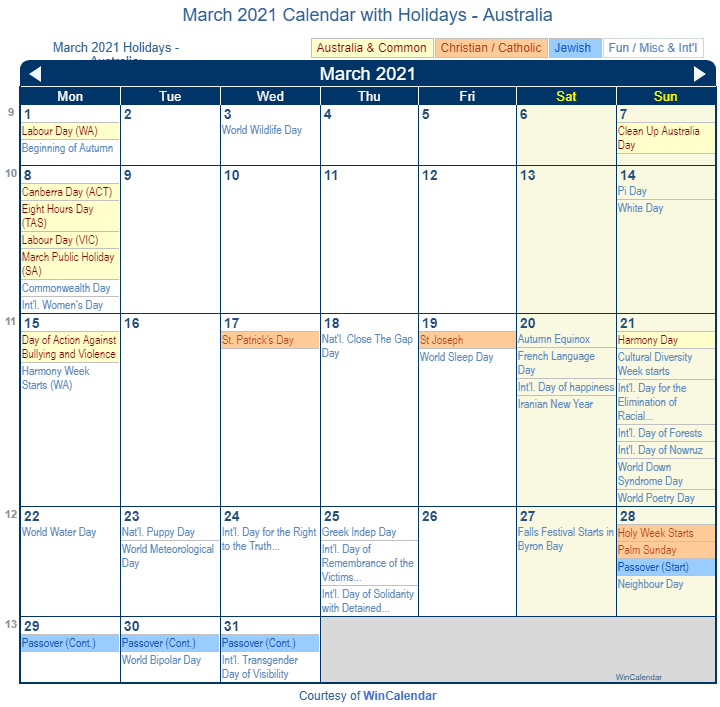 March 2021 Calendar with Australia Holidays (Including Christian and religious)