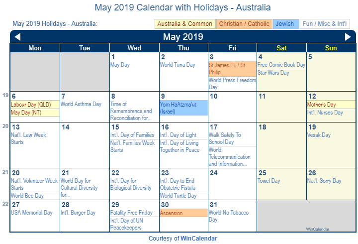 May 2019 Calendar with Australian Holidays to Print
