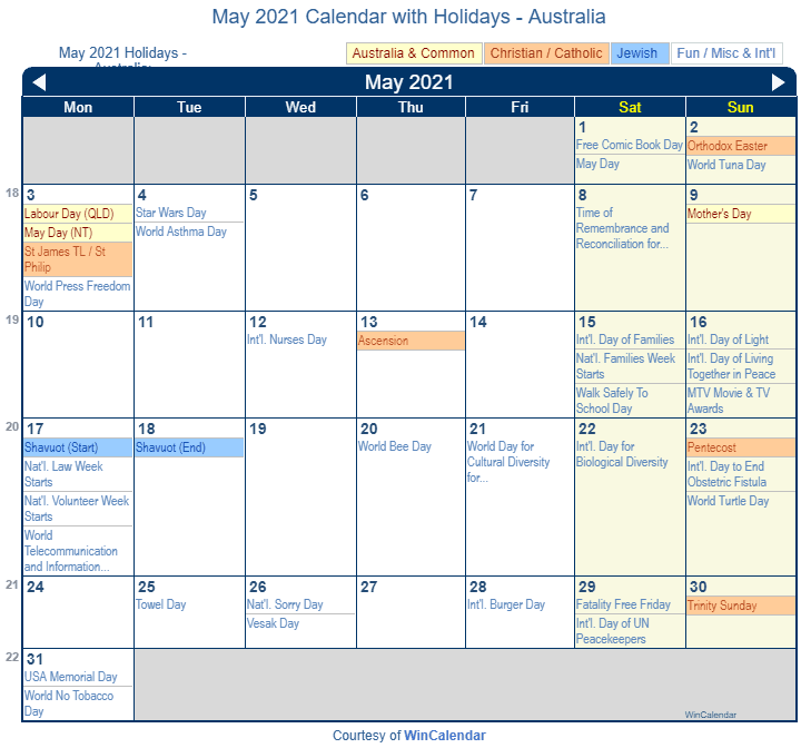 May 2021 Calendar with Australia Holidays (Including Christian and religious)