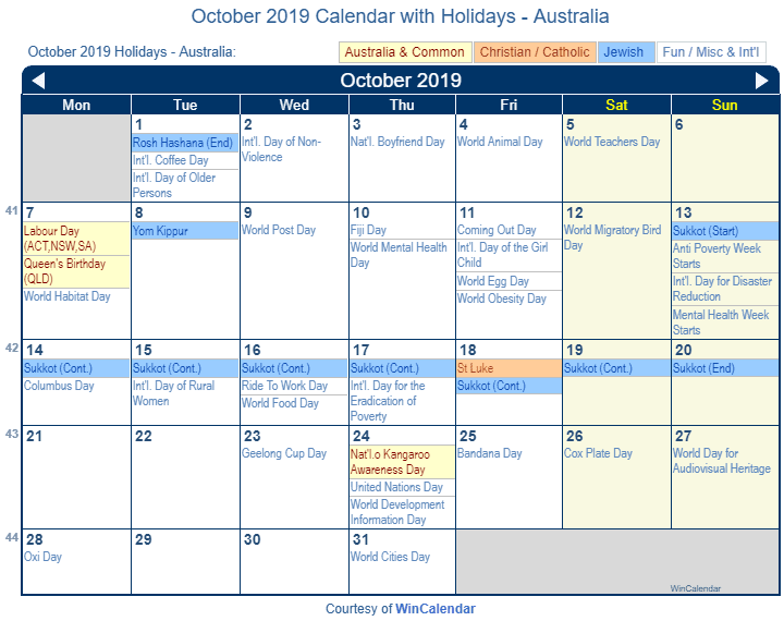 October 2019 Calendar with Australian Holidays to Print