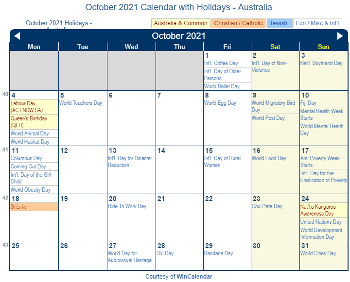 October 2021 Calendar with Australia Holidays (Including Christian and religious)